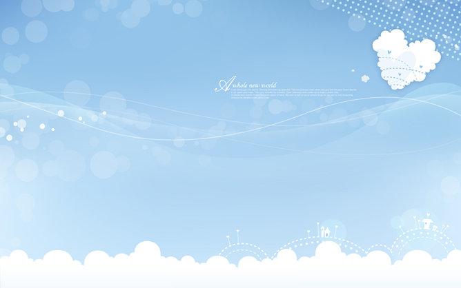 淡雅蓝天白云幻灯片背景图片图片