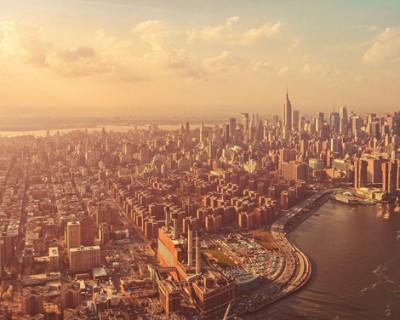 大气城市天际线PPT背景图片