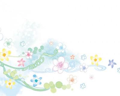 淡雅清新水彩花朵PPT背景图片