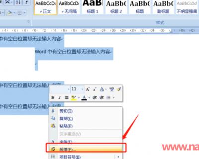 怎么解决Word文档中有空白不能输入文字的情况?